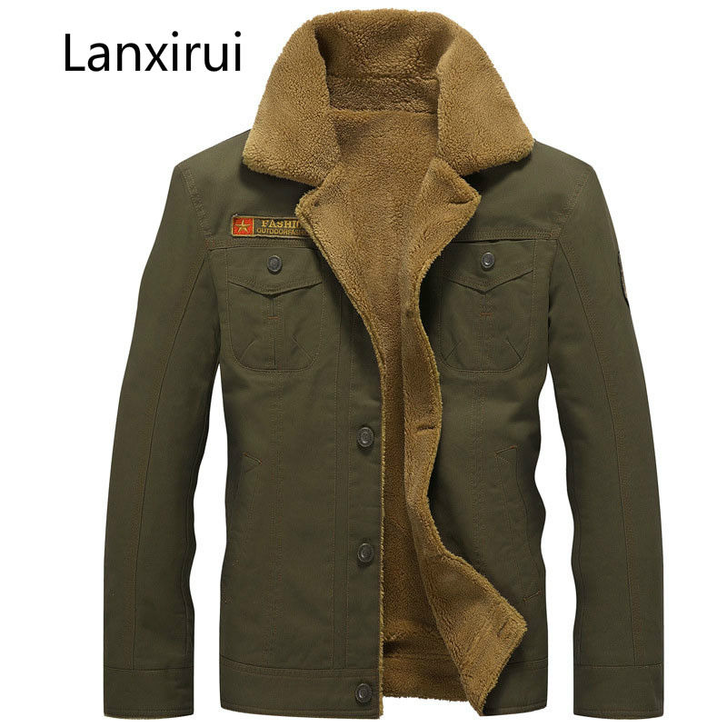 Winter Bomber Jacket Men Air Force Pilot Ma1 Jacket Warm Male Fur Collar Army Jacket Tactical Mens Jacket Size 5xl ,Pa061 image