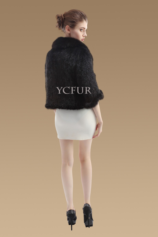 YCFUR Женская шаль, Зимняя Вязаная Шаль из натурального меха норки, шали с лисой, меховой воротник-шарф, женское пончо из настоящей норки