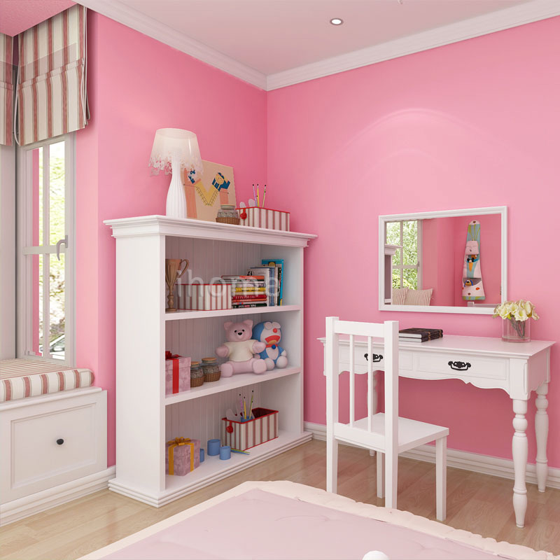 Pure Pink Non woven Wallpaper Child\'s Living Room Wall Covering ...