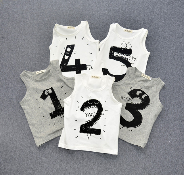 12m-5y Kids T shirts Number1 2 3 4 5 Printed Cotton Sleeveless Baby Boys Girls Tshirts Children Clothing Kikikids