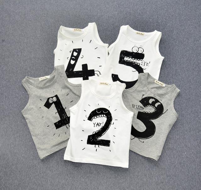 Preax Kids 12m-5y Kids T shirts Number1 2 3 4 5 Printed Cotton Sleeveless Baby Boys Girls Tshirts Children Kikikids