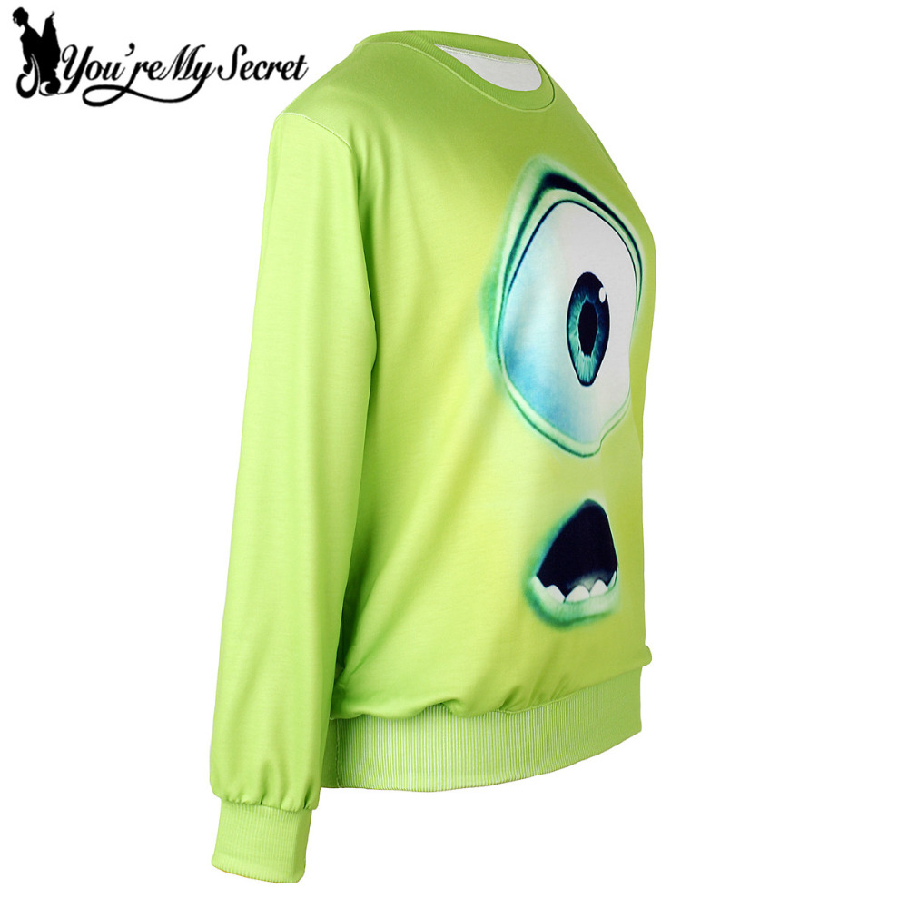 [Youre My Secret] Moleton Feminino O-Neck Long Sleeve Moleton 3D Printed Women Sweatshirts With Cute Eyes Green Loose Suit