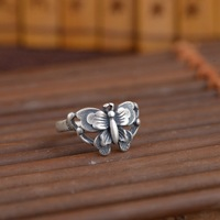 S925 silver Thai silver antique craftswoman fashion butterfly ring