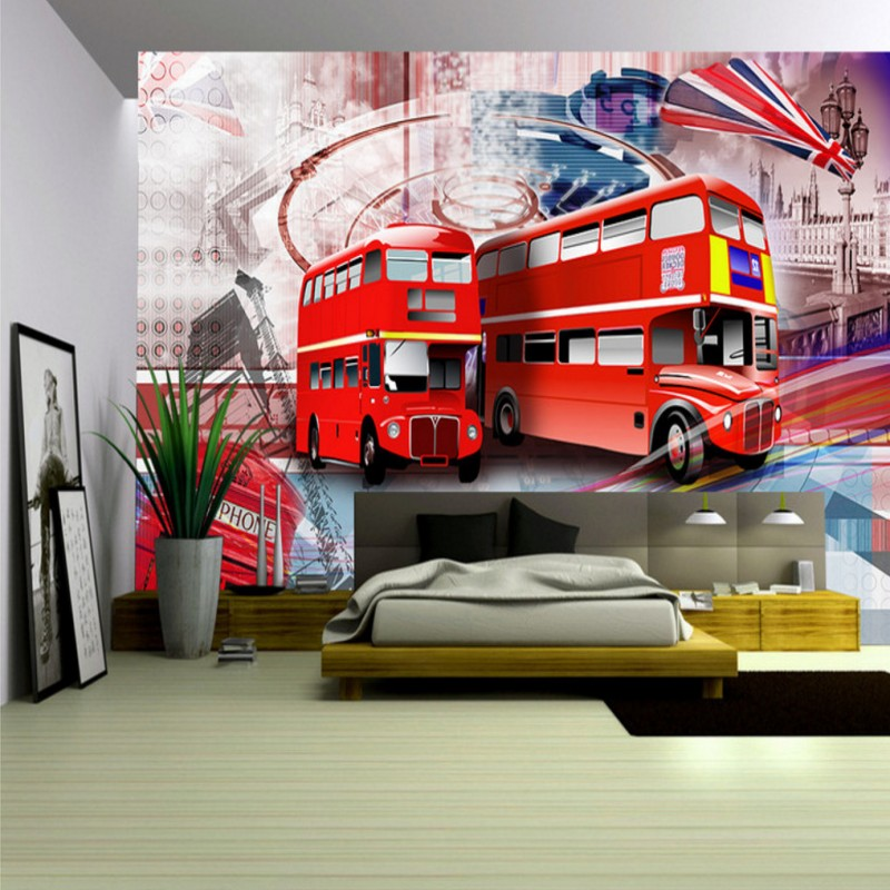 wallpaper 3d London street red bus background 3d wallpaper mural Living room Hotel decoration background wall welly london bus 99930
