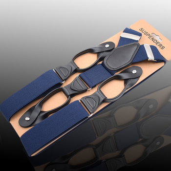 JIERKU Buttons Suspenders Black Leather Mans Braces New Suspensorio Fashion Trousers Strap Father/Husbands Gift 3.5*120cm