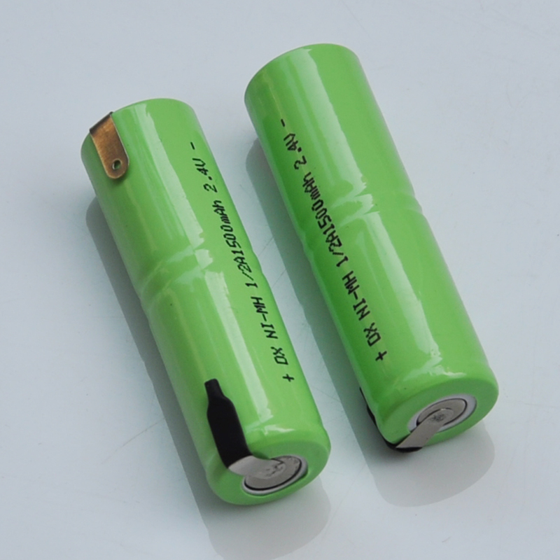 1-2pcs 2.4V 1/2A rechargeable battery 1500mah 1/2 A ni-mh nimh cell with welding tabs pins for electric shaver razor toothbrush