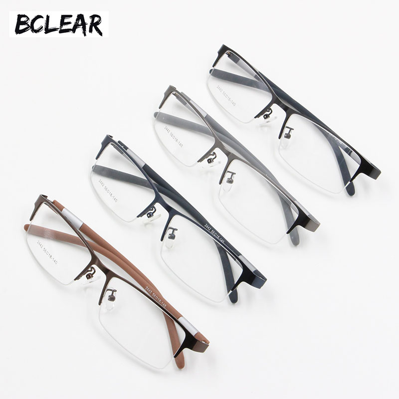 BCLEAR Populära Halvfälg Alloy Man Spectacle Frames Flexibla TR90 Temple Legs Optiska Eyeglasses Frame Men Semi Rimless Eyewear