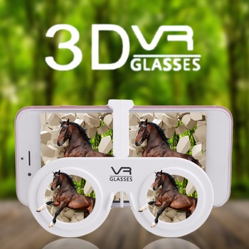 """Portable Mini 3D Virtual Reality Glasses Portable Mini Fold 3D Glasses Suitable For 4.0-6.5"""" Phone With Frame and Hold"""