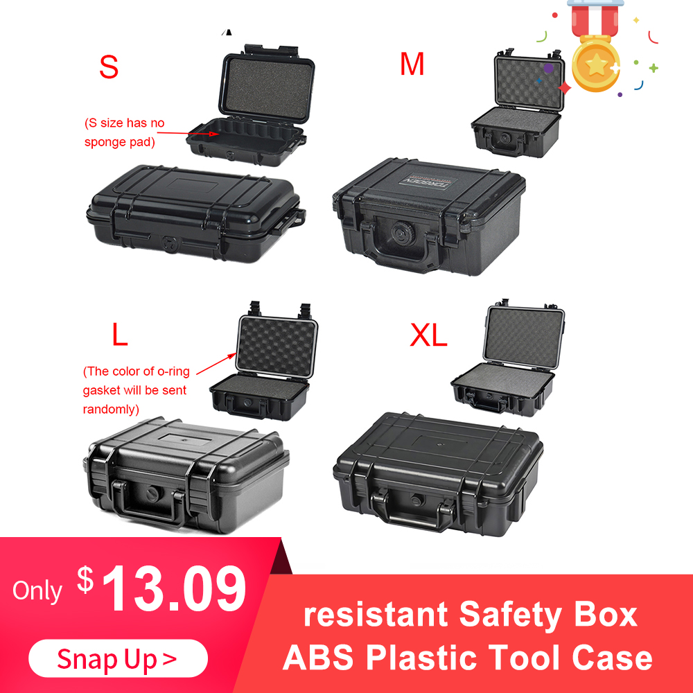 Waterproof Shockproof Safety Case ABS Plastic Tool Box Outdoor Tactical Dry Box Sealed Safety Storage Outdoor Tool Box