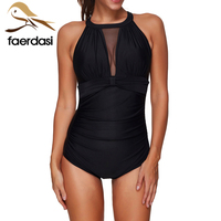 Sexy One Piece Swim Suits 2018 Swimwear Women Mesh Deep V Neck Solid Black High Neck