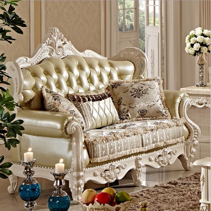 High Quality European Antique Living Room Sofa Furniture Genuine Leather Set Pfy10014