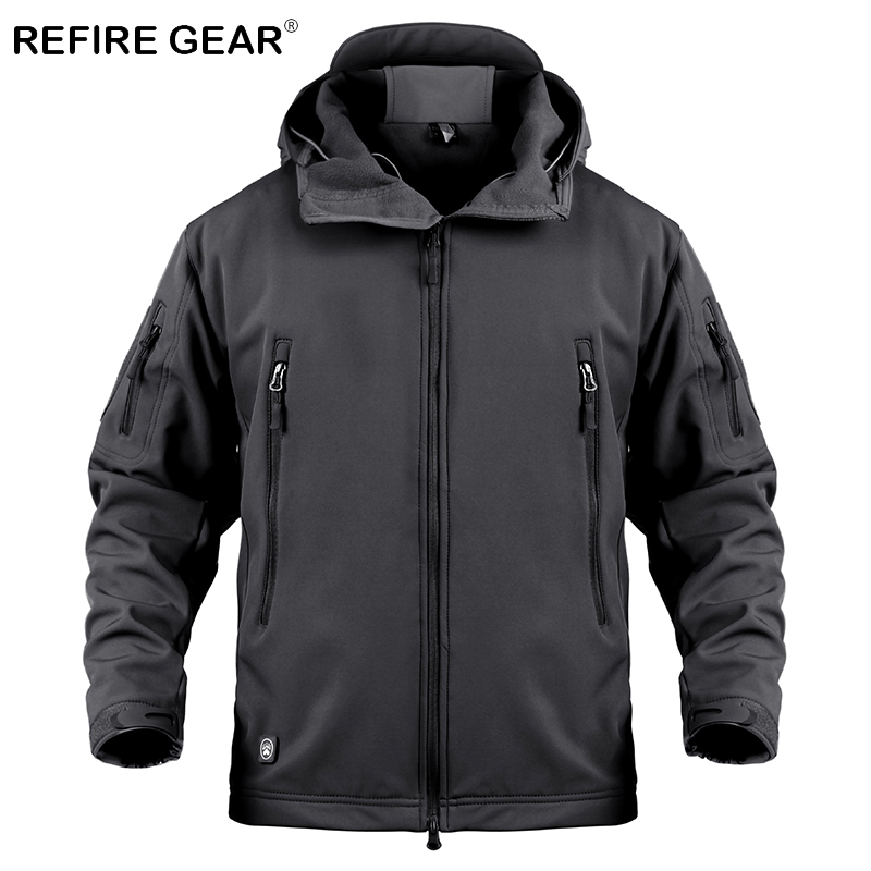 ReFire Gear Soft Shell Military Windbreaker Jacket Men Tactical Camouflage Jacket Coat Outdoor Sport Hunting Clothes