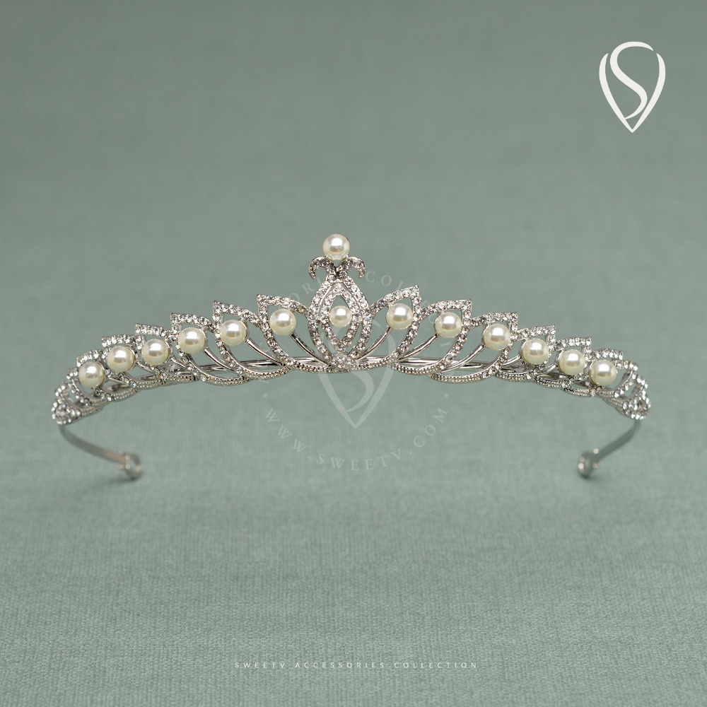 We wedding headpiece jewellery - Sweetv Lotus Inspired Princess Crown Pearl Rhinestone Tiara Prom Pageant Wedding Headpiece Bridal Hair Accessories Headdress
