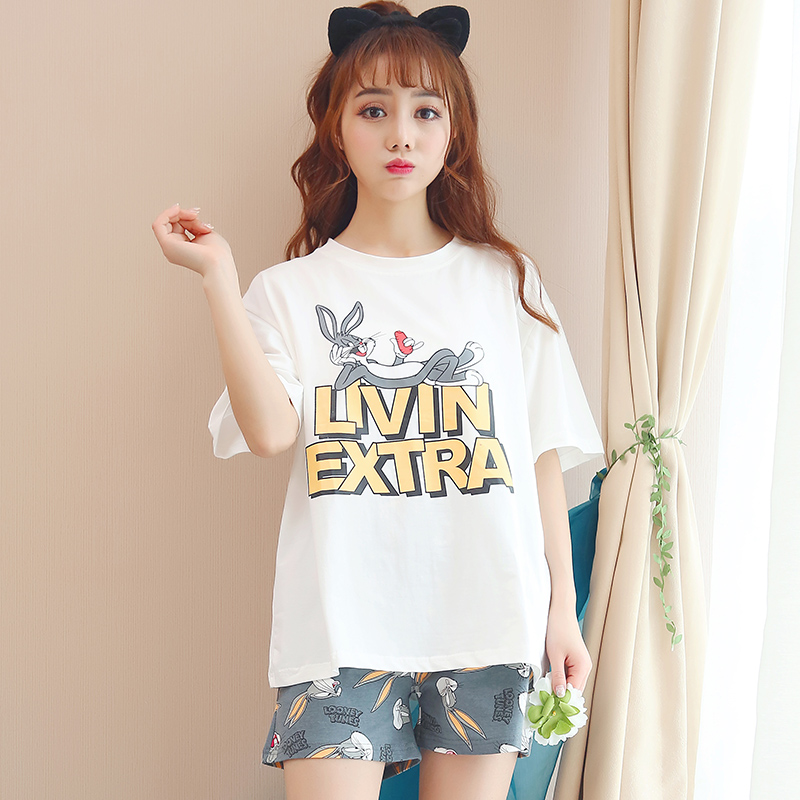 2019 Summer Girls Pijamas Mujer Summer Comfortable Women   Pajamas     Sets   Short Sleeve Thin Cotton Home Wear Serve Lovely Sleepwear