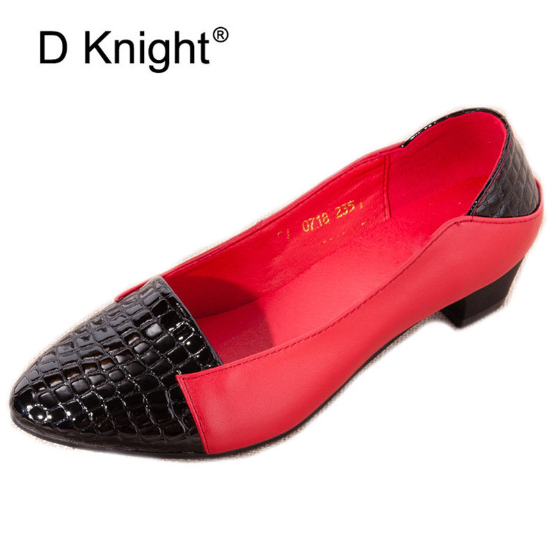 все цены на Genuine Leather Soft Women Pumps Plus Size 41 Fashion Slip-On Elegant Color Block High Heels Office Ladies Woman Shoes Red Black