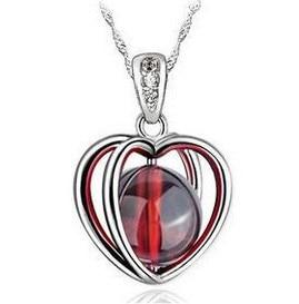 2016 ny ankomst rød granat 925 sterling sølv damer Luksus perle anheng halskjeder smykker engros 45cm drop shipping