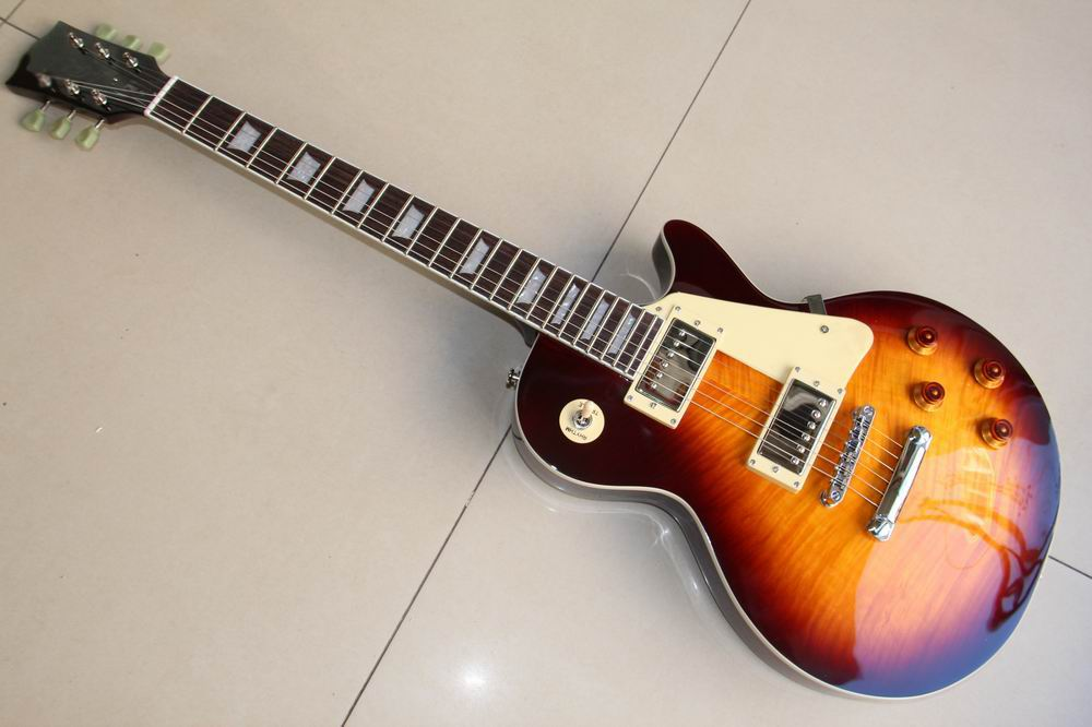 Custom shop 1959 R9 les Tiger Flame paul electric guitar Standard LP 59 electric guitar Vintage Sunburst  120115 new 1959 r9 les tiger flame paul electric guitar standard lp 59 standard in stock ems fast shipping vintage sunburst terry burst