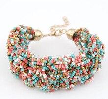 2015 New Bohemian style colourful Handmade Mini beads Bracelets & Bangles Layer Chunky Women Bracelet Gift