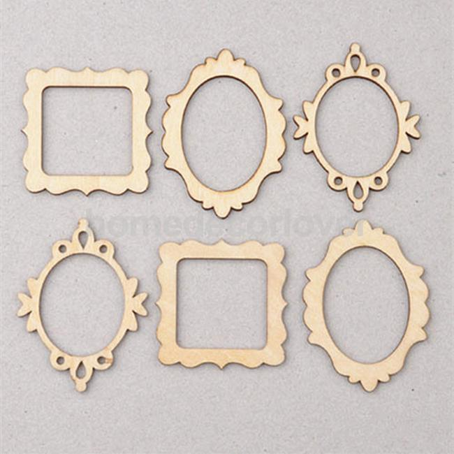 10 Packs of 3 Unfinished Wooden Frame Craft Shapes Craft supplies ...