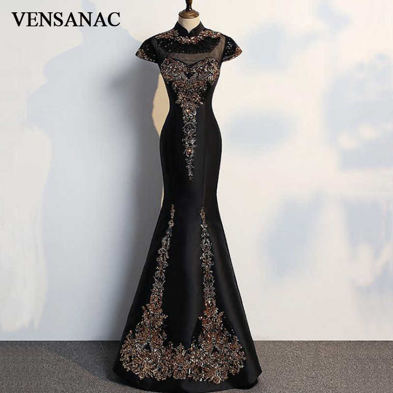 VENSANAC 2018 High Neck Luxury Embroidery Crystals Long Mermaid Evening  Dresses Vintage Party Lace Sequined Prom 589f14093d10