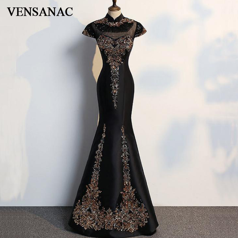 VENSANAC 2018 High Neck Luxury Embroidery Crystals Long Mermaid Evening font b Dresses b font Vintage