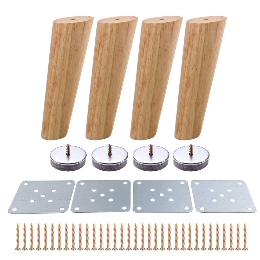 4pcs 180mm Height Wooden Furniture Legs Oblique Tapered Reliable Sofa Table Feet Couch Dresser Armchair Foot Oak Wood More Gift