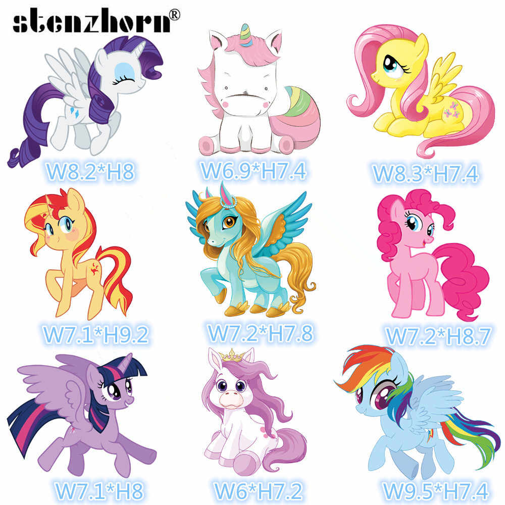 (1PC)Cartoon My Little Pony Iron On Patches for Clothing Heat Transfers For Kids Child clothes Diy Ironing Stickers