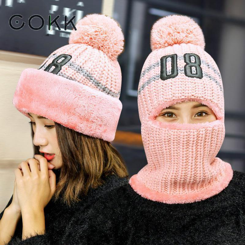 COKK Winter Hats For Women Pompom Ball Knitted Cap Hat Female Windproof Ear Flaps Thick Warm Velvet Skullies Beanies Bonnet Mask velvet thick keep warm winter hat for women rabbit fur knitted beanies ladies female fashion skullies elegant hats for women