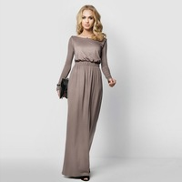 4 Colors Women Long Sleeve Maxi Dress Evening Party Full Length Maxi Gown Dress Elegant Long