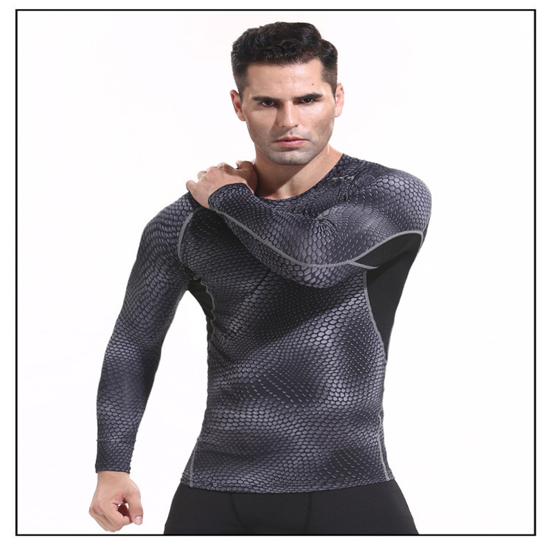 Men 39 s Running T Shirts Long SleeveTight Sport Shirt Quick Dry Snake Gym Clothing Fitness Top Men Sport Wear Soccer Jersey in Running T Shirts from Sports amp Entertainment