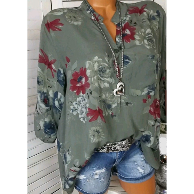 Laamei 2018 Autumn Fashion Chiffon V-neck Women Blouse Long Sleeve Shirts Floral Print Plus Size Top Casual Office Lady Blusas 1