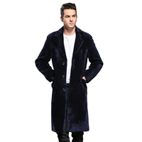 Natural Shearling Sheep Fur Men Coat Genuine Sheep Shearling Male Smart Casual Jacket Autumn Winter Long Trench Men Fur Outwear