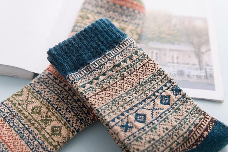MOBTRS Vintage Mens Wool Socks Warm Fashion Diamond Rabbit Cute In Tube Socks Male Thermal Man Warm Socks 5pairs/lot