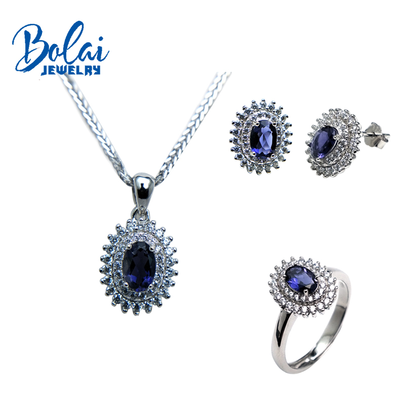 Bolaijewelry,natural Iolite ring and pendant and earring 925 sterling silver fine jewelry for women Christmas party gift box bolaijewelry natural emerald pendant or necklace and ring and earring jewelry set 925 sterling silver for women anniversary gift