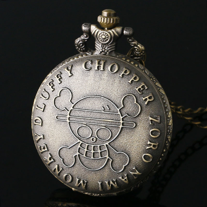 Hot One Piece Pocket Watch Bronze Skull Symbol Luffy Script Slim Necklace Japan Anime Clock Best Gifts For Men Women Comic Fans