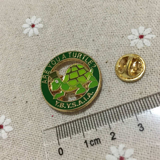 US $80 0 |100pcs custom masonic lapel pin green brooches Are you a turtle  Y B Y S A I A  Freemason metal craft badges for masonry charity-in Pins &