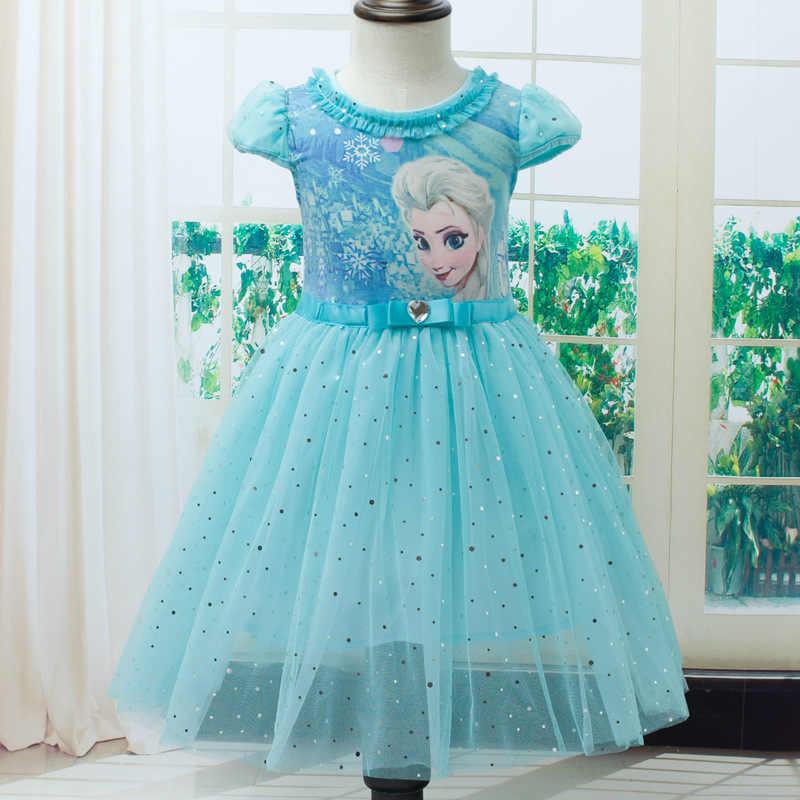 Платья для девочек платье принцессы Анны и Эльзы праздничные платья Снежной Королевы для девочек на день рождения платье для девочек детская одежда