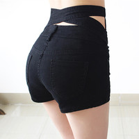 Hollow Out Black Skinny High Waist Shorts 2017 Summer New Women White Slim Sexy Denim Shorts