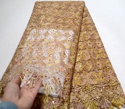New Arrival afrykańska koronkowa tkanina haftowane Guipure francuski koronki tkaniny dobrej jakości z cekiny gipiury koronki netto 5 metrów