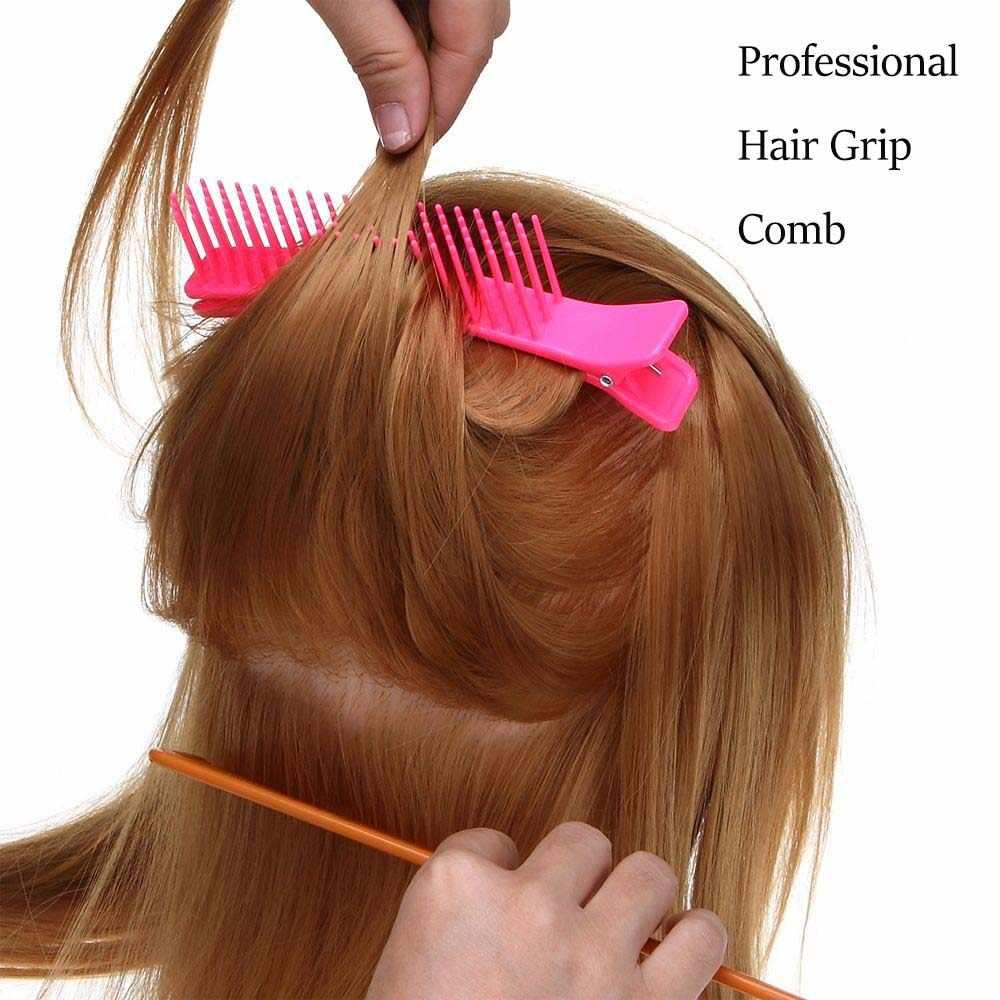 1 Pcs Doppel-seitig Professional Hair Grip Kamm Friseursalon Schnitte Schneiden Schellen Dauerwelle Färben Styling Werkzeuge Zufällige Farbe