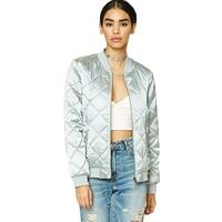 Women Bomber Jacket Fashion Metal Glossy Future Sense Clothes Ladies Outwear Coat Long Sleeve Female Short Jacket Tops Clothing