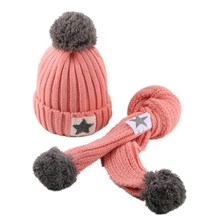 Winter Soft Fleece Knit Hat Scarf Set Kids Novelty Thickened Scarf with  Fur knitted hat baby  scarf hat glove sets