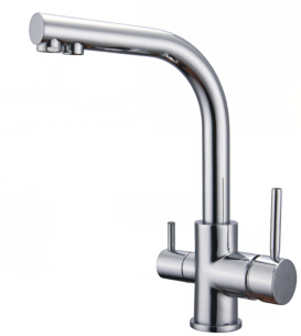2015 Kitchen Faucets New Dual Holder Single Hole None Torneira Faucets Two Spouts Drinking Water Tap Three Way Faucet for Filter