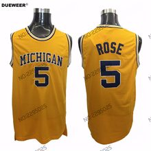 DUEWEER Mens Jalen Rose Throwback Basketball Jersey Michigan Wolverines 5  Jalen Rose College Jerseys Cheap Yellow 475486c25