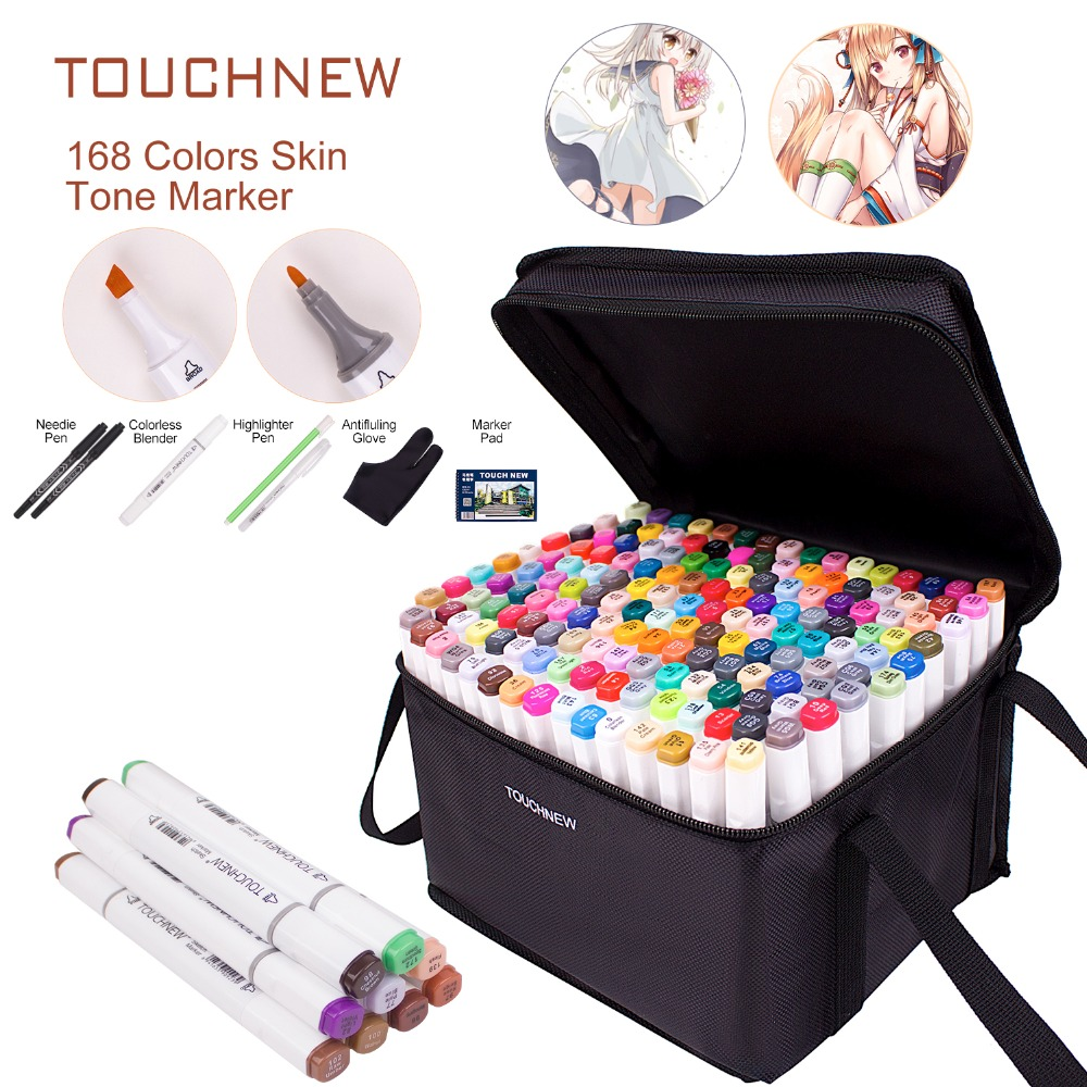 Art Drawing Marker Pen   TOUCHNEW 40 60 80 168 Colors Alcohol Graphic Art Sketch Twin Marker Pens Gift sketchbook for painting|Art Markers| |  - title=