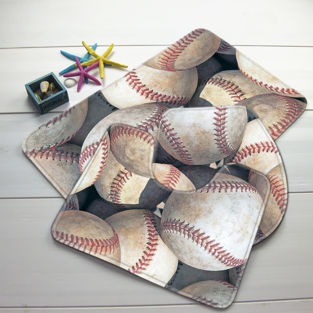 3pcs Baseball Bathroom Mat Set Base Sports Pattern Rug Anti Slip Bath Products In Mats From Home Garden On Aliexpress