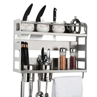 knife magnet holder Kitchen stainless steel knife rack multifunctional shelf rack wall mounted household props016