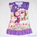 Masha y El Oso Del Bebé Niñas Vestido de la Historieta de 2016 Nuevo estilo Toddler Kids Pijama Vestido Lindo Niños Homewear Camisón para 3-10Y