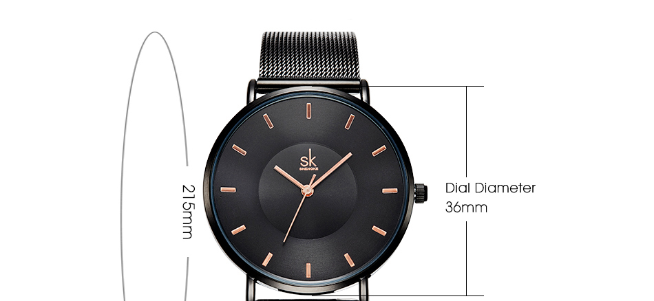 Shengke Fashion Black Women Watches 17 High Quality Ultra thin Quartz Watch Woman Elegant Dress Ladies Watch Montre Femme SK 27