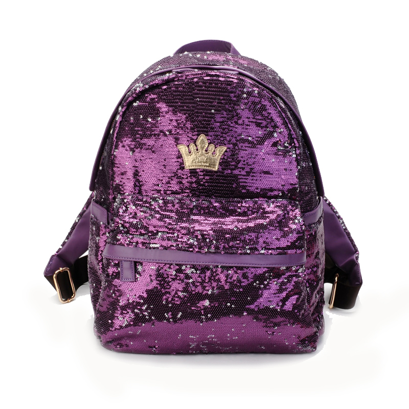 TFTP Women Crown Canvas Backpack Student School Bag For Teenager Girls Women Bag Paillette Bling Bag